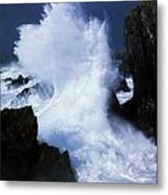 Ireland, Waves Crashing On Rocks Metal Print