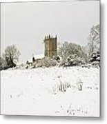 Ireland Winter Landscape With Church Metal Print