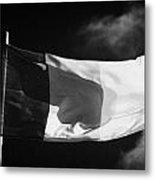 Irish Tricolour Flag With Frayed Edges Flying In Republic Of Ireland Metal Print by Joe Fox