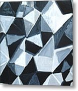 Irregular Triangle Pattern In Black And White Metal Print