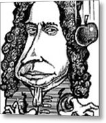 Isaac Newton, Caricature Metal Print by Gary Brown