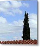 Italian Cyress And Red Tile Roof Rome Italy Metal Print