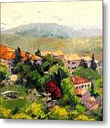 Italian Hillside Village Oil Painting Metal Print