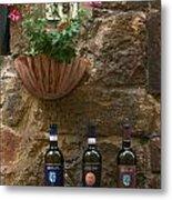 Italian Wine And Flowers Metal Print