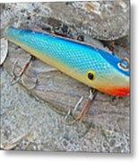 J And J Flop Tail Vintage Saltwater Fishing Lure - Blue Metal Print