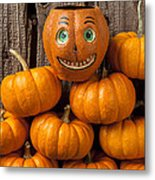 Jack-o-lantern On Stack Of Pumpkins Metal Print