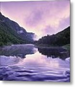 Jacques-cartier River And Mist At Dawn Metal Print