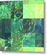 Jaguar Graph Geo Green Metal Print