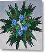 Jammer Blue Red Snow Wreath Metal Print