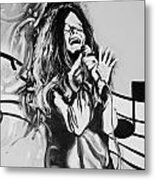 Janis In Black And White Metal Print
