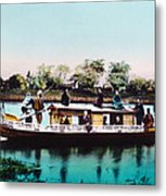 Japan, A Houseboat, Hand Colored Metal Print