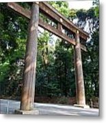 Japanese Entrance Gate On A Sunny Day Metal Print