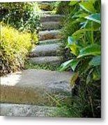 Japanese Garden Stone Steps Metal Print