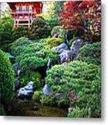 Japanese Garden With Pagoda And Pond Metal Print