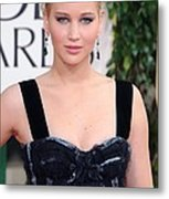 Jennifer Lawrence Wearing A Louis Metal Print