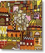 Jerusalem Alleys Tall 5  In Red Yellow Brown Orange Green And White Abstract Skyline Landscape   Metal Print
