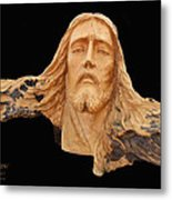 Jesus Christ Wooden Sculpture -  Four Metal Print