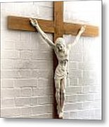 Jesus On Cross Painted Effect Metal Print