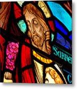 Jesus On Glass Metal Print