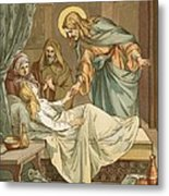 Jesus Raising Jairus's Daughter Metal Print