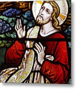 Jesus Stained Glass Metal Print