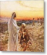 Jesus Withe The One Leper Who Returned To Give Thanks Metal Print