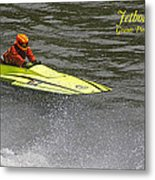 Jetboat In A Race At Grants Pass Boatnik With Text Metal Print