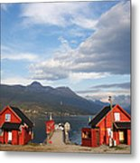 Jetty In A Norwegian Fjord Metal Print