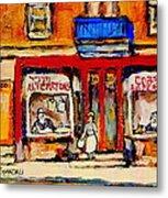 Jewish Montreal Vintage City Scenes De Bullion Street Cobbler Metal Print