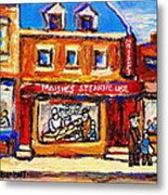 Jewish Montreal Vintage City Scenes Moishes St. Lawrence Street Metal Print