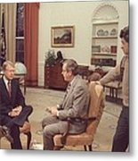 Jimmy Carter Prepares For An Interview Metal Print
