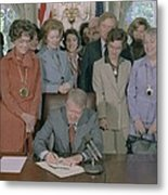 Jimmy Carter Signs A House Metal Print by Everett