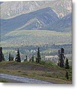 Jogger On The Glenn Highway And Chugach Metal Print