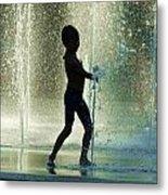 Joyful Child In The Water Fountain Metal Print
