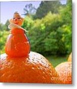 Juggling Oranges Metal Print