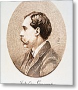 Jules A.h. De Goncourt (1830-1870). French Novelist: Engraving After A Contemporary Portrait On Enamel Metal Print