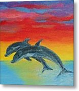 Jumping Dolphins Left Metal Print