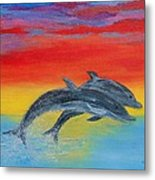 Jumping Dolphins Right Metal Print