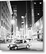 Junction Of Salisbury Road And Nathan Road Tsim Sha Tsui Kowloon At Night Hong Kong Hksar China Asia Metal Print