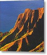 Kalalau Valley Sunset In Kauai Metal Print