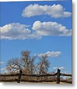 Kansas Country Wooden Fence With Blue Sky And Cloud's Metal Print
