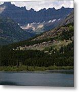 Kayaks On Swiftcurrent Lake Metal Print
