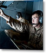 Kc-10 Extender Boom Operator Adjusts Metal Print