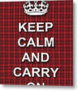 Keep Calm And Carry On Poster Print Red Black Stripes Background Metal Print