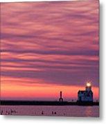 Kewaunee Lighthouse At Sunrise Metal Print