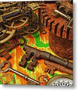Keys Gears And Compass Metal Print