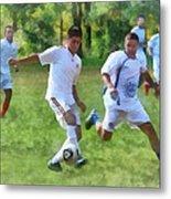 Kicking Soccer Ball Metal Print