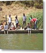 Kids By The Lake Metal Print