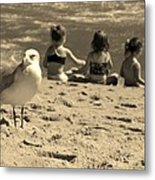 Kids On The Beach - Sepia Metal Print