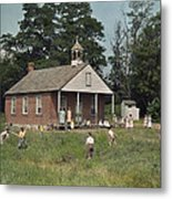 Kids Play Baseball During Recess Metal Print by J. Baylor Roberts
